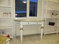 Письменный полукруглый стол из натурального дерева