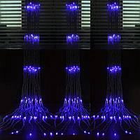 Водопад 3х3 Гирлянда  Штора 320 Led - Дождь на белом прозрачном проводе цвет синий