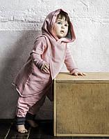 Теплый розовый костюм из хлопка с легким начесом на девочку. Размер: 98, 104 см, фото 1