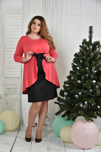 Красивое платье для пышных дам 0377 коралл