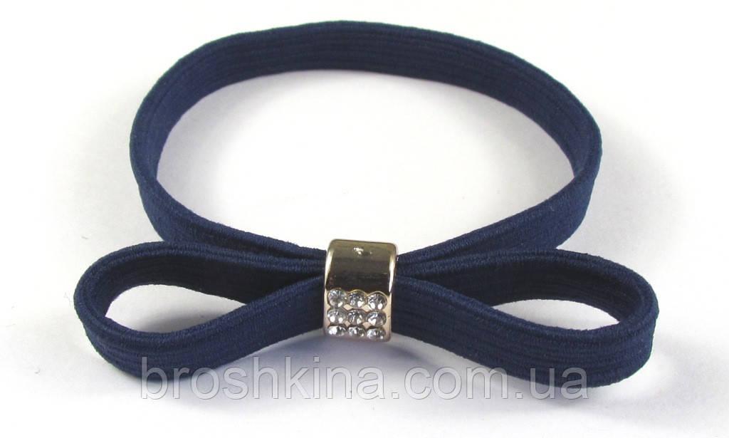 Резинка-браслет с бантиком и стразами темно-синяя