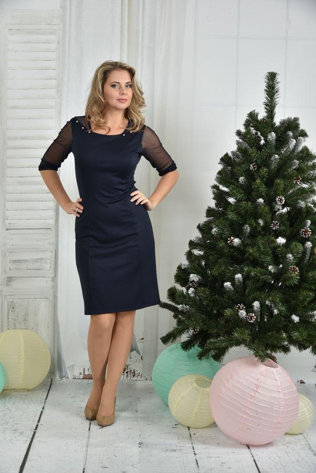 Элегантное платье больших размеров 0384 синее