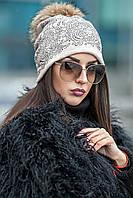 Женская шапка в стразах с меховым помпоном Luxury