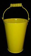 Декоративное ведро желтого цвета, в 13 см., 52/43 (цена за 1 шт. + 9 гр.)