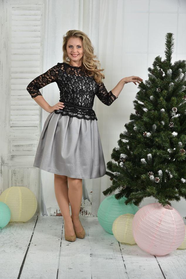 Нарядное платье большого размера 0386 серое