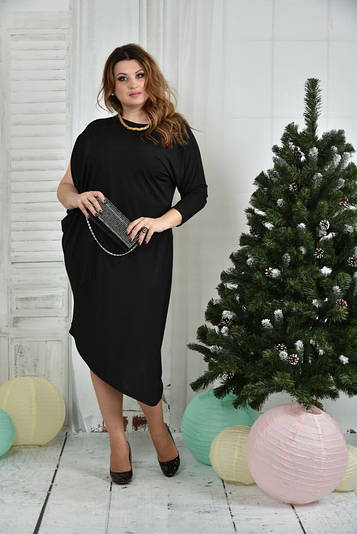 Стильное платье больших размеров 0387 черное