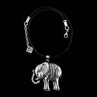 Колье кожаное Веселый слоник - этническая бижутерия
