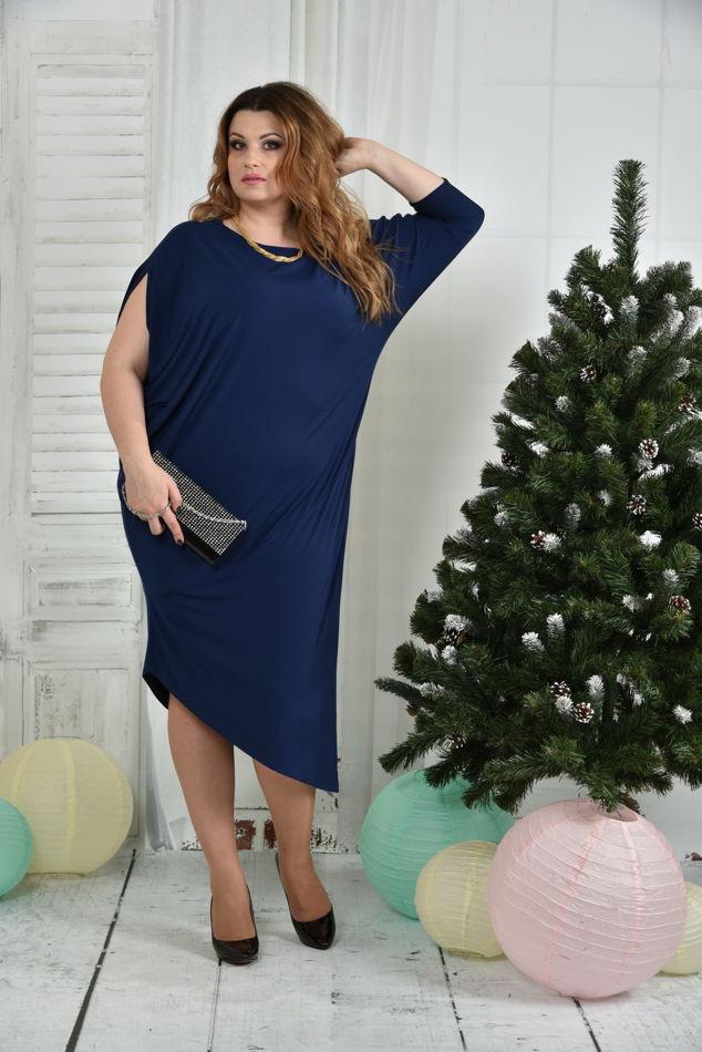Стильное платье больших размеров 0387 синее