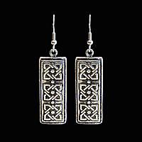 Серьги прямоугольной формы Ника покрыты серебром - этнические украшения