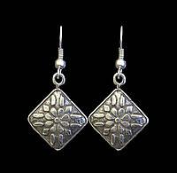 Стильные Серьги Селена покрытые серебром - этнические украшения
