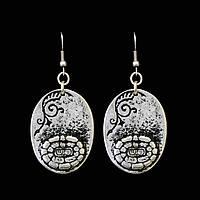 Серьги с покрытием серебра Цветок солнца - этнические украшения
