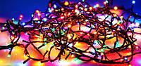 Гирлянда нить новогодняя 200 лампочек мульти цвет