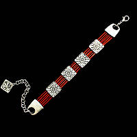 Браслет для женщин Селена (красная кожа) - этническая бижутерия