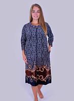 Велюровый женский халат с растительным узором