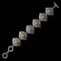 Изысканный металлический браслет Золотой Лев (вставка - бронза)
