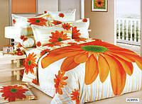 Постельное белье Almira, сатин, фотопринт, 3D, ТМ Arya (Ария) Турция, Оранжевый, белый цветы