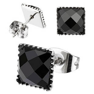 Жіночі сережки гвоздики із сталі з оніксом Spikes