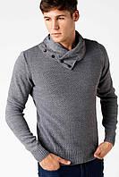 Мужской свитер De Facto серого цвета с воротником хомут