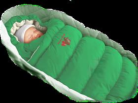 Конверт-пуховик зеленый на овчине (ЗИМА)