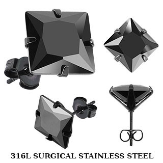 Серьги пусеты из медицинской стали с черным фианитом Spikes 5x5 mm.
