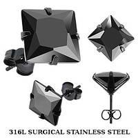 Серьги пусеты из медицинской стали с черным фианитом Spikes