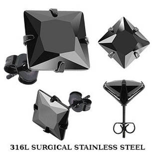 Серьги пусеты из медицинской стали с черным фианитом Spikes 5x5 mm. 6x6 mm.