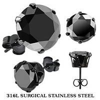 Серьги из медицинской стали с черным фианитом Spikes 5 мм