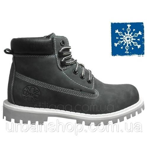 Ботинки STEEL 052/202/OCW-GREY  6 дыр. нубук (ботинки, зимние, мех, кожа, черевики, хутро, вовна)