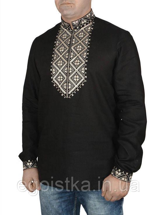 Черная современная льняная вышиванка, фото 1