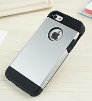 Стильный чехол бампер для iPhone 5 5S серебристый