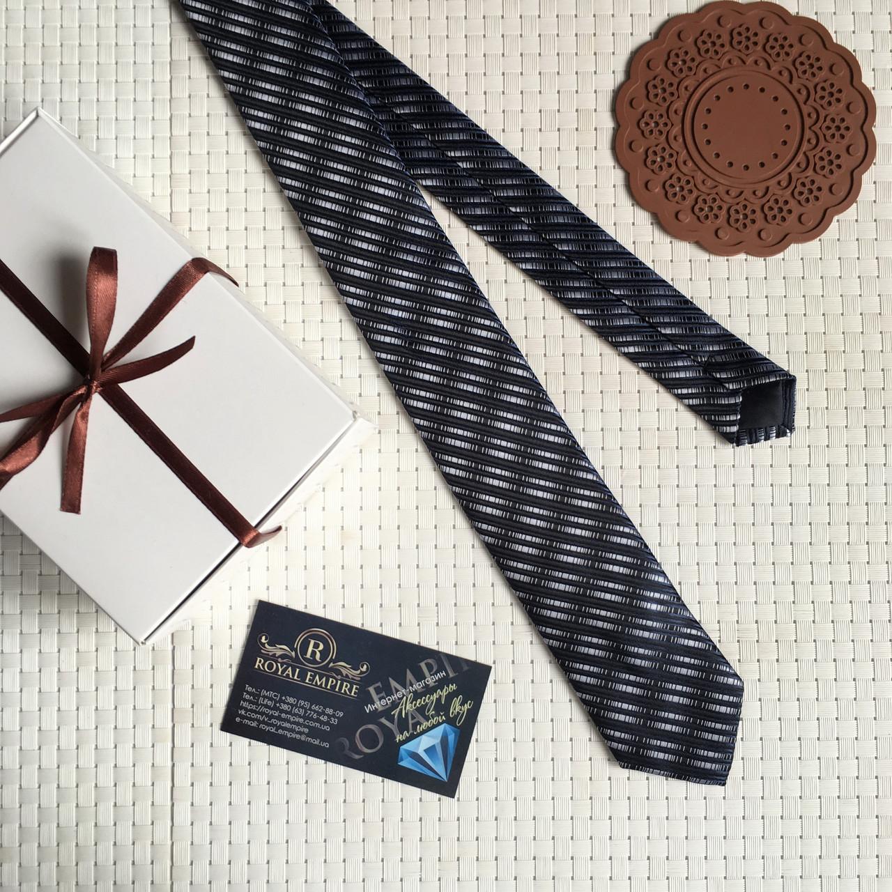 """Узкий галстук """"Михель хамелеон"""" темно-синий, в подарочной коробке. Roberto Gabbanni"""