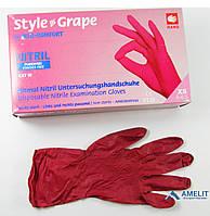 Перчатки нитриловые StyleGrape(Ampri), бордовые, размер«XS», 50пар/упак.