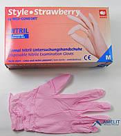 Перчатки нитриловые Style Strawberry, розовые, 50пар/упак.