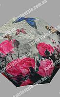 """Зонт женский """"Розы с бабочками"""" 8 спиц на карбоне"""
