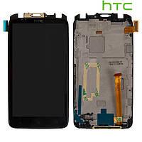 Дисплейный модуль (дисплей + сенсор) для HTC S728e One X+, с передней панелью, черный, оригинал