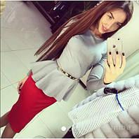 Костюм кофта баска, длинный рукав + юбка миди!!!