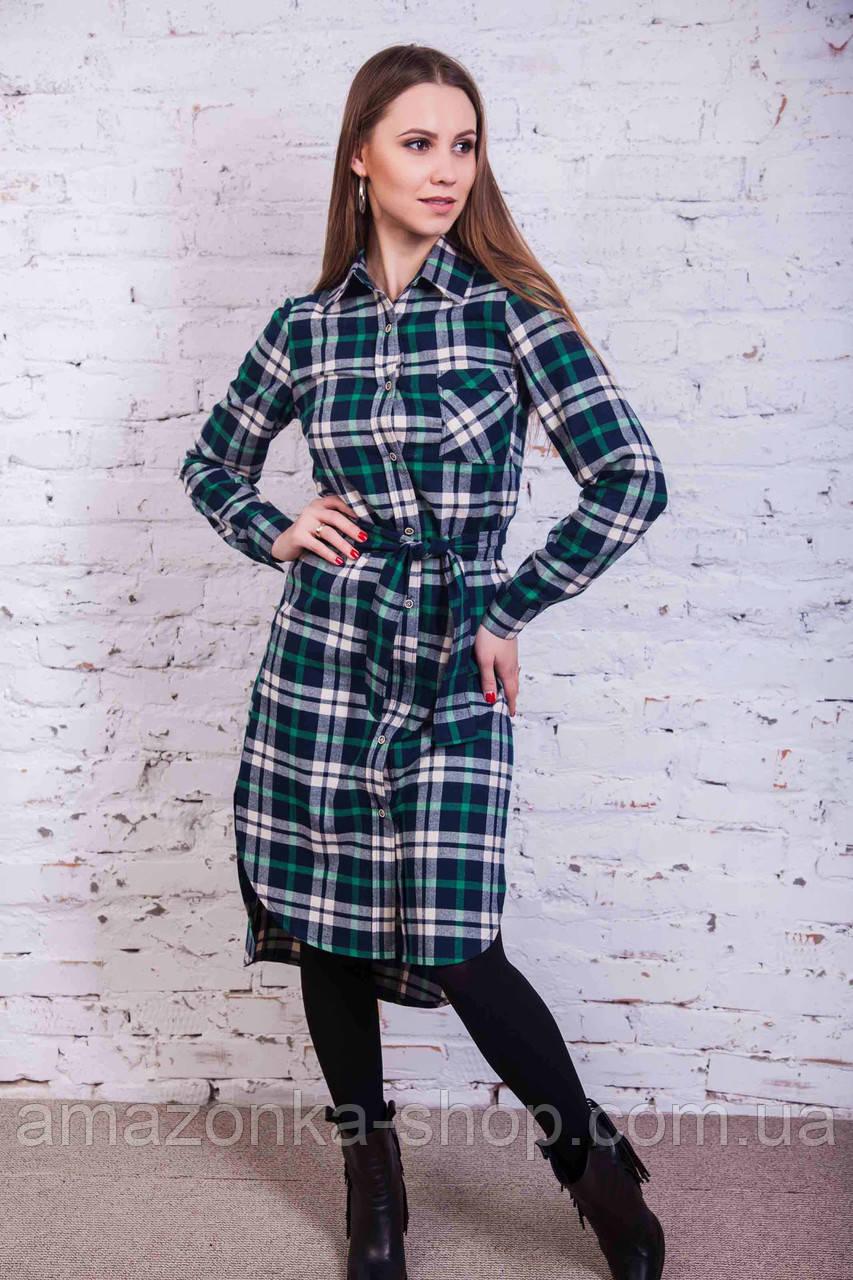 Стильное женское рубашечное платье от производителя - зима-весна 2017 - Код пл-115