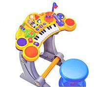 Детский синтезатор со стульчиком BB52B: музыка, свет, микрофон, 2 режима, коробка 51,5х46х17 см