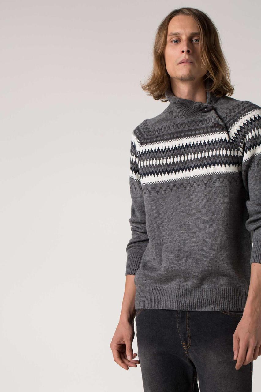 Мужской свитер De Facto темно-серого цвета в рисунок