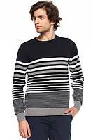 Мужской свитер De Facto черного цвета в серо-белые полоски