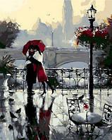 Картина раскраска по цифрам. Поцелуй под дождем