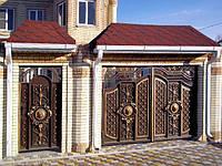 Купить ворота металлические с элементами ковки в Херсоне с покраской доставкой и монтажом