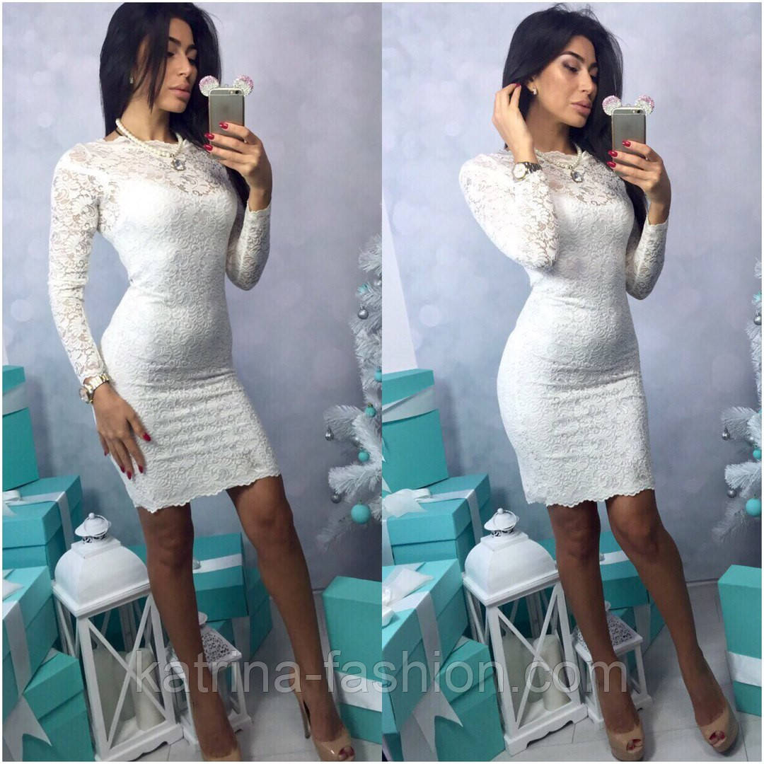 6559df69c44 Женское нарядное гипюровое платье с длинным рукавом (3 цвета ...