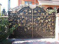Купить красивые кованые ворота с калиткой в Херсоне с покраской доставкой и монтажом