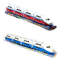 Детский поезд игрушка Express Train 757 P-002: локомотив, 3 вагона, свет, звук, в слюде 68х9х9 см