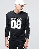 Свитшот Converse 08 черный с белым логотипом, унисекс (мужской,женский,детский)