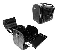 """Сумка-чемодан с выдвижными полочками лаковый,""""кожа крокодила"""",цвет-черный.Размеры 30х25х23"""