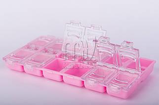 Тара для камней, украшений, 12 ячеек розовая