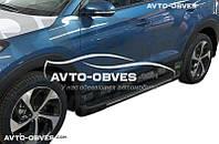 Подножки боковые Hyundai Tucson 2015-2017 с окантовкой из нержавейки в стиле Elegand черные