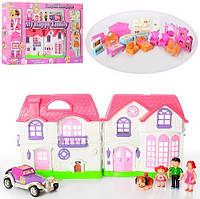 Кукольный домик 8031, фигурки семьи и щенка, машина, мебель, светозвуковые эффекты, 23,5х23,5х13 см